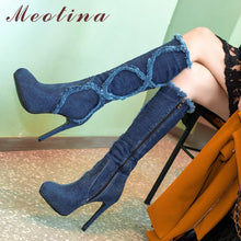 Load image into Gallery viewer, Meotina Platform High Heels Boots Winter Cowboy For Women Knee High Boots Zip Extreme High Heel Long Boots Autumn Blue Black 43