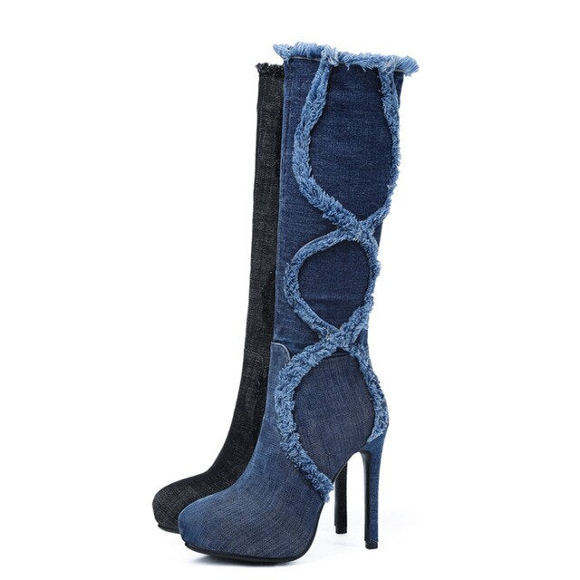 Meotina Platform High Heels Boots Winter Cowboy For Women Knee High Boots Zip Extreme High Heel Long Boots Autumn Blue Black 43