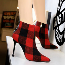 Load image into Gallery viewer, INS HOT Women ankle Boots Denim check Europe and America Simple and versatile women's boots super high heel shoes woman