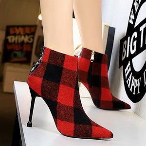 INS HOT Women ankle Boots Denim check Europe and America Simple and versatile women's boots super high heel shoes woman