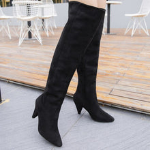 Load image into Gallery viewer, Thin Heels Comfortable Thigh High Boots Femme Denim Women Over The Knee Boots Women Botas Mujer Spring and Autumn Women Shoes