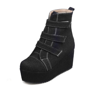 DORATASIA Female Sewing Solid Round Toe Platform Wedges Ankle Boots Hook Loop Boots Women Flock Brand Casual Shoes Woman