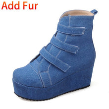 Load image into Gallery viewer, DORATASIA Female Sewing Solid Round Toe Platform Wedges Ankle Boots Hook Loop Boots Women Flock Brand Casual Shoes Woman