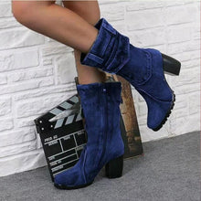 Load image into Gallery viewer, Adisputent 2019 Fashion Autumn Winter Women Boots Denim Women Round Toe Cowboy Style High Heels Shoes Knee High Boots