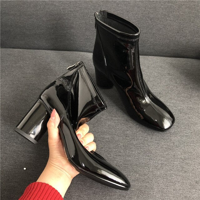 Patent Leather Light With Short Boots Woman 2019 Genuine Leather Thin High With Woman Boots