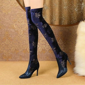 Fashion Ladies Genuine Leather Over The Knee Boots High Heels Shoes Christmas Winter Woman Thigh High Boots For Women Thin Heels