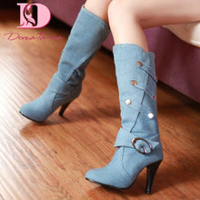 Load image into Gallery viewer, DoraTasia 2020 Hot Sale Plus Size 48 Women Boots Thin Heels Round Toe Platform Metal Decoration Winter Women Knee High Shoes