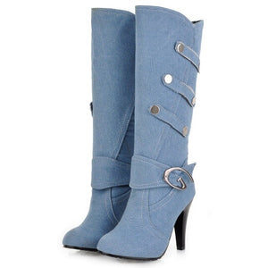 DoraTasia 2020 Hot Sale Plus Size 48 Women Boots Thin Heels Round Toe Platform Metal Decoration Winter Women Knee High Shoes