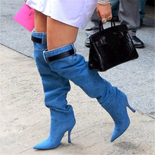Load image into Gallery viewer, Women Fashion Blue Denim Boots Sexy Autumn Thigh High Boots Catwalk Over the Knee Boots High Heel Shoes Women 2020