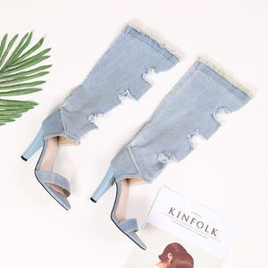 Summer denim long boots Women open toe high heels sandals knee high boots ripped cowboy cut out T-Show gladiator sandalias 2020