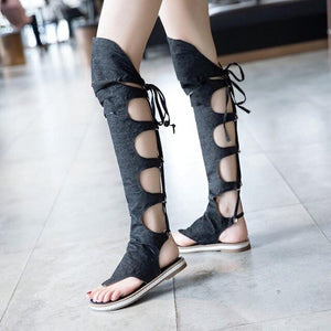 WOMEN High-top Toe Clamping Sandals Women's Summer Flat Rome Shoe Student Cross Bandage Denim Cloth Thigh Boot Over Knee Boots