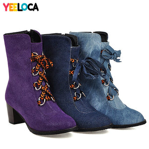 YEELOCA boots women winter high heels round toe hoof heels lace up riband mid calf short plush denim shoes woman