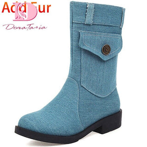 Doratasia 2020 Big size 43 denim pouch fashion autumn winter shoes women mid-caf boots female