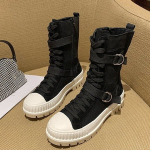 2020 Spring Autumn women boots Lace up denim Wear-resistant non-slip Sport casual boot Comfortable breathable women boot