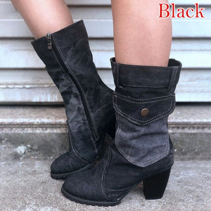2020 Denim Women Shoes Fashion Mid-calf Boots Square Heel Bohemia Style Motorcycle Boots Cowboy Boots Winter Autumn Women Boots