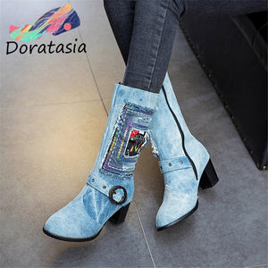 DORATASIA Lesiure Women High Heels Zipper Round Toe Shoes Brand Designer Boots Women Fashion Buckle Mid Calf Boots