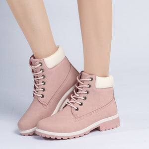 Single Boots Woman Pu Boots Woman Flat Bottom Will Code Colour Boots Woman Short Boots