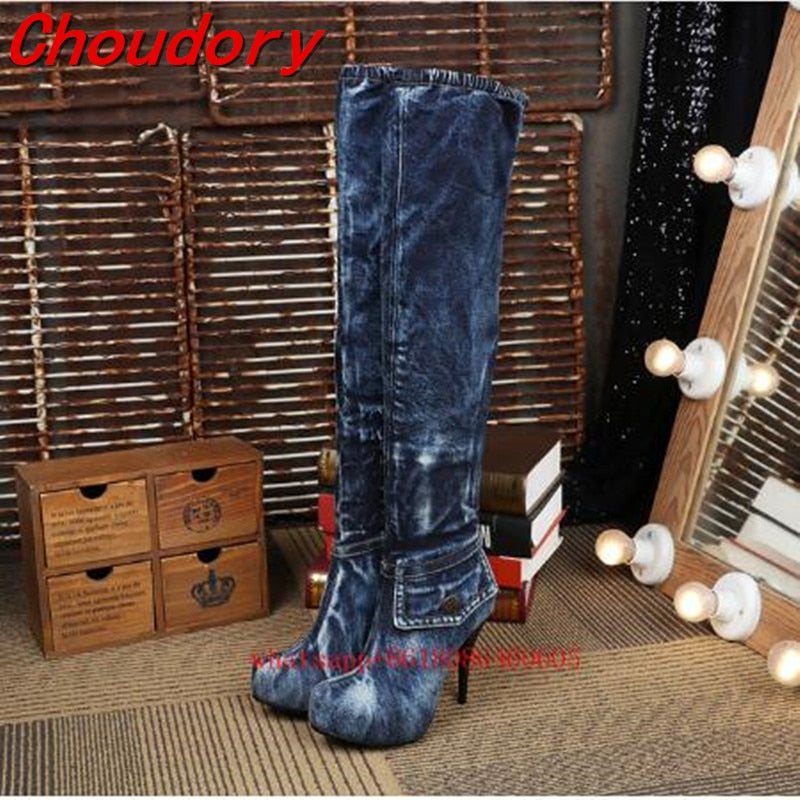 Choudory Women Barreled blue denim Boots 2017 High Heels Jean Boots Women OverKnee Thigh High Boots Fashion Denim platform Shoes