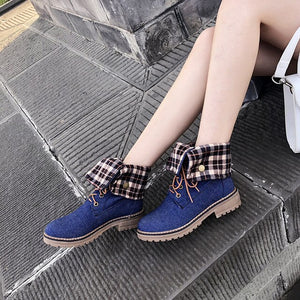 Sgesvier 2019 Winter Boots Women Lace Up Chunky Heels Shoes Ankle Boots Female Denim Blue Black Bootie Autumn Footwear G647