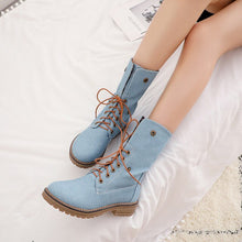 Load image into Gallery viewer, Sgesvier 2019 Winter Boots Women Lace Up Chunky Heels Shoes Ankle Boots Female Denim Blue Black Bootie Autumn Footwear G647