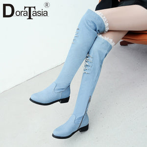 DoraTasia Fashoin Denim Over The Knee High Boots Female 3.5cm Med Heels Women Boots Autumn Winter Shoes Woman Plus Size 32-48