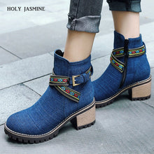 Load image into Gallery viewer, HOLY JASMINE New Spring/Autumn Denim Ankle Boots for Women Zip Round Toe Women Boots Cotton Fabric High (5cm-8cm)  TPR  Basic