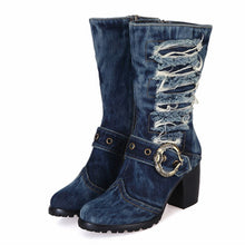 Load image into Gallery viewer, 2020 Winter Warm Boots Women Denim Boot Platform Chunky High Heel Botas Mujer Jean Riding Boots Shoes Woman Size 42