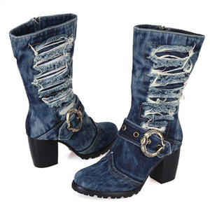 2020 Winter Warm Boots Women Denim Boot Platform Chunky High Heel Botas Mujer Jean Riding Boots Shoes Woman Size 42
