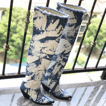 Load image into Gallery viewer, Retro Blue Denim Over Knee Boots Woman Pointed Toe High Heels Wedges Boots Female Fashion Long Cowboy Boots