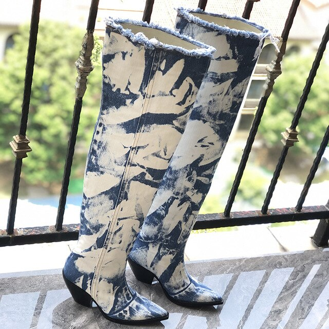 Retro Blue Denim Over Knee Boots Woman Pointed Toe High Heels Wedges Boots Female Fashion Long Cowboy Boots