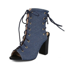 Load image into Gallery viewer, REAVE CAT 2019 new arrival summer ankle boots for women high Thick heels lace up sandals casual Peep Toe Denim shoes big size 46