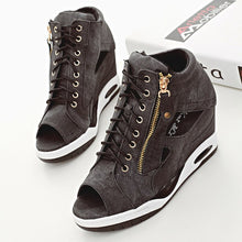 Load image into Gallery viewer, Summer Lady Women Boots Increased Wedge Wet Side Zipper Short Boots Women Lace Up Of Autumn Ankle Boots Winter Shoes