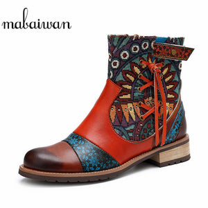 Mabaiwan 2020 Vintage Genuine Leather Ankle Boots Women Low Heel Bohemian Fashion Shoes Women Retro Elegant Short Autumn Boots