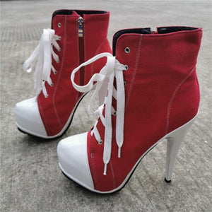 Red Fashion Denim Cowboy Boots For Women High Heels Ankle Boots Lace UP Platform Bottes Femme Plus size47 Shoes Woman