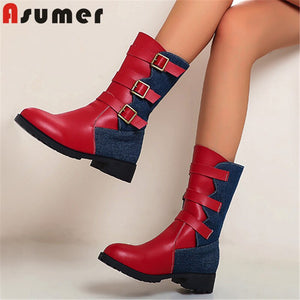 ASUMER 2020 hot sale ankle boots women pu denim mixed colors autumn winter low heel casual shoes fashion punk boots woman