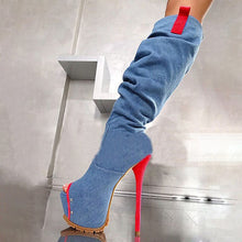 Load image into Gallery viewer, BERZIMER Women Knee High Platform Boots Side Zip Stiletto High Heels Zapatos Suede Denim Bota Mujer Shoes Woman Size 43 44 47 52