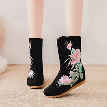 Load image into Gallery viewer, Veowalk Floral Embroidery Women Canvas Mid-calf Boots Hidden Wedge Ladies Comfort Denim Cotton Winter Autumn Booties Shoes Black