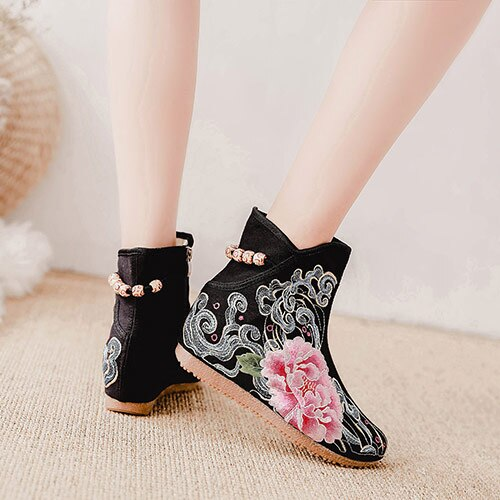 Veowalk Floral Embroidery Women Canvas Mid-calf Boots Hidden Wedge Ladies Comfort Denim Cotton Winter Autumn Booties Shoes Black