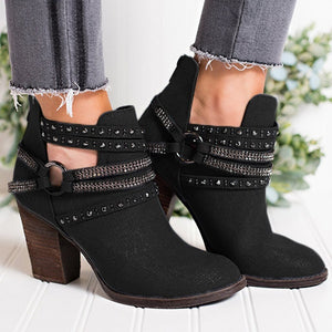 Women Boot Fashion Casual Ladies Shoes Martins Boots Suede Leather Buckle Boots High Heeled Zipper Snow Shoes For Femme#3