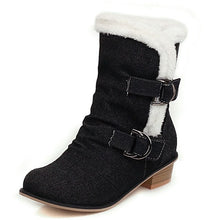 Load image into Gallery viewer, Lloprost ke 2020 Big Size 34-48 Square Heels Ankle Boots Denim Keep Warm Plush Add Fur Winter Shoes Woman Snow Boots Female