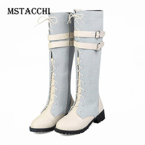 MStacchi Colour Mixture Buckle Ladies Cowboy Boot Punk Cross-tied Flat Knightly Boots Zipper-Sid Winter Thigh High Boots Women