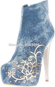ALMUDENA Women Blue Denim Gold Meatal Foral Short Boots Stiletto Heels Platform Bling Bling Crystal Dress Shoes Flower Pumps