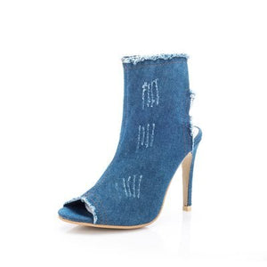 Fashion Denim Ankle Boots Women Summer Shoes 10cm High Heels Peep Toe Backless Boots Casual Thin Heels Zipper Boots Ladies Shoes