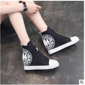 Canvas Sneakers Women Trainers Wedges Autumn Short Boot Casual Female Shoes Ladies Blue Black Zapatillas Mujer Denim Shoes
