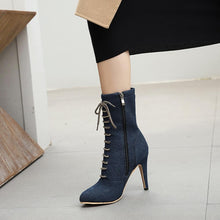 Load image into Gallery viewer, New autumn and winter denim Roman stiletto heel pointed fashion ankle boot woman