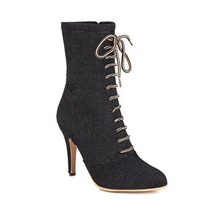 New autumn and winter denim Roman stiletto heel pointed fashion ankle boot woman