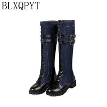 Load image into Gallery viewer, BLXQPYT Winter Autumn Boots Big Size 33-46 Knee High Boots Women Med Heels Zip Long Round Toe Platform Knight shoes woman Z811