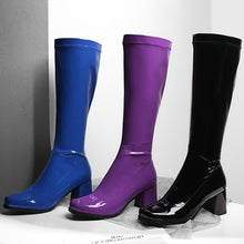 Load image into Gallery viewer, Brand Square Toe Knee High Boots Women Fashion Mirror Leather Thick Heel Long Boots Women 2020 Winter New Shoes Purple Blue