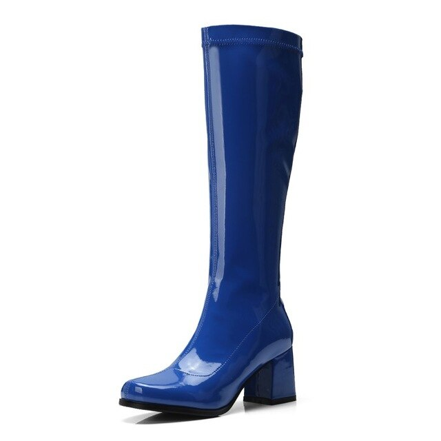 Brand Square Toe Knee High Boots Women Fashion Mirror Leather Thick Heel Long Boots Women 2020 Winter New Shoes Purple Blue