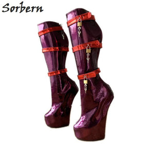 Sorbern Purple Custom Wide Calf Boots Women Red Straps Lockable Keys Sexy Fetish Boots Bdsm High Heel Womens Ladies Boots